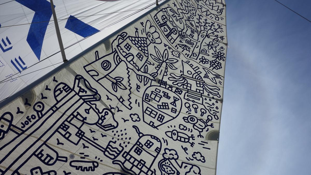 Voile peinte du bateau