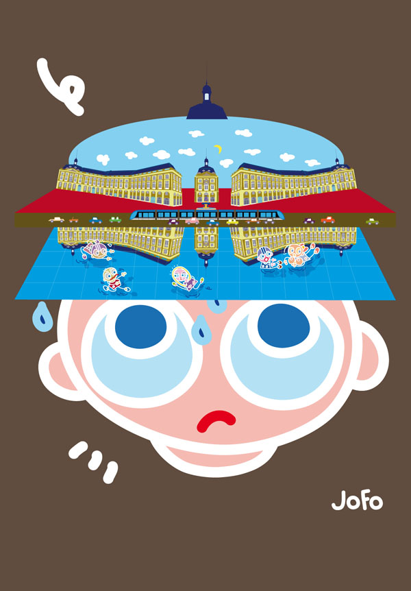 La Place de la Bourse de Gabriel + le miroir d'eau de Jean-Max Llorca