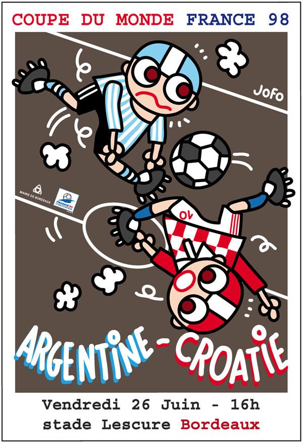 Édition d'affiches des 5 matchs joués à Bordeaux pour la Coupe du Monde De Football 1998.