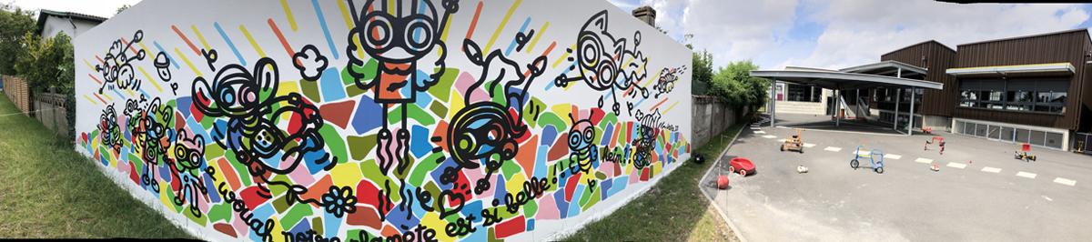 Mur de l'école maternelle Gambetta à Cenon (33). Juin 2021.